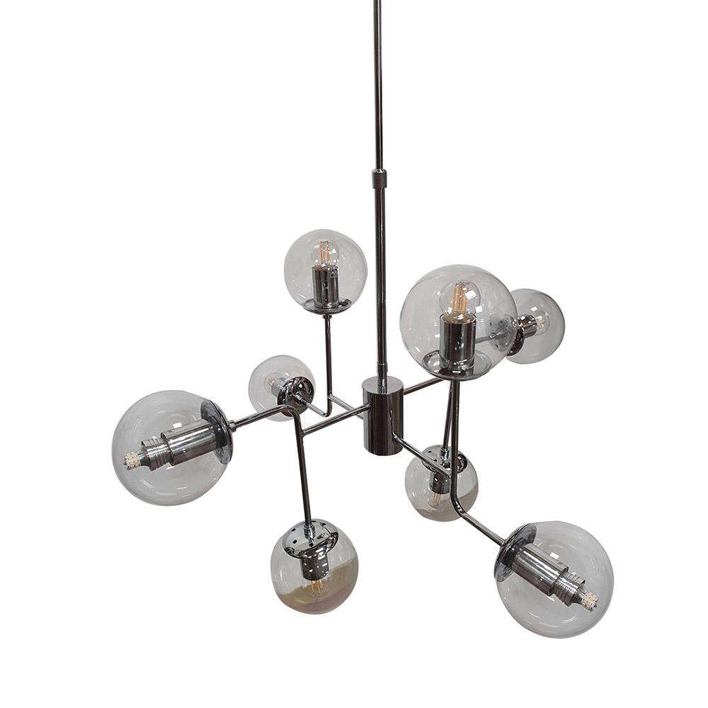 Pendente Moderno 8 Lâmp 73cm Cromado Com Cúpulas de Vidro BL