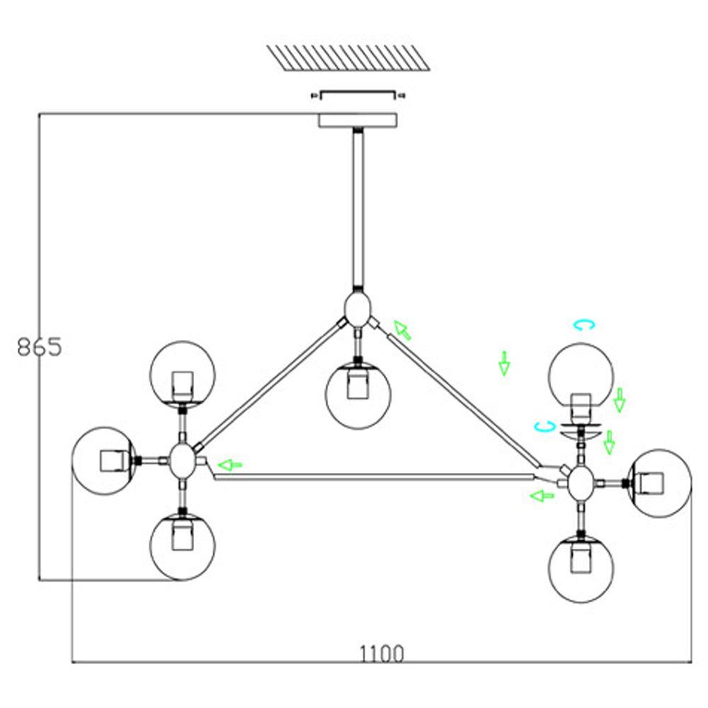 Pendente Moderno Cúpula de Vidro e Estrutura Preta 10 Lâmpadas BL