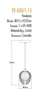 Pendente de Cristal Translúcido e Aço Cromado Ø15cm Mais Luz