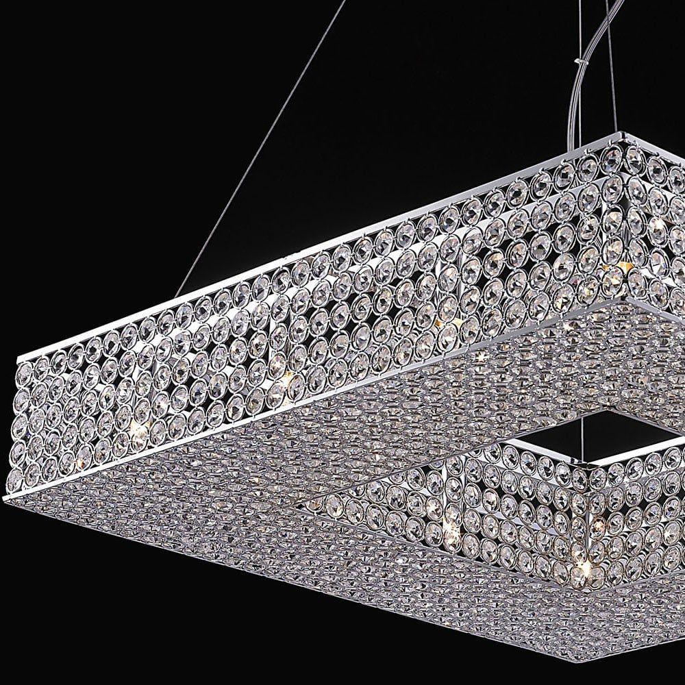 Lustre de Cristal Quadrado 60x60cm Translúcido Mais Luz