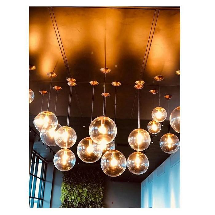 Pendente Redondo Esfera 20cm Dourado e Vidro Cristal Madelustre