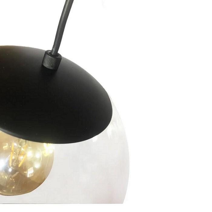 Pendente Redondo Esfera 20cm Preto e Vidro Cristal Madelustre
