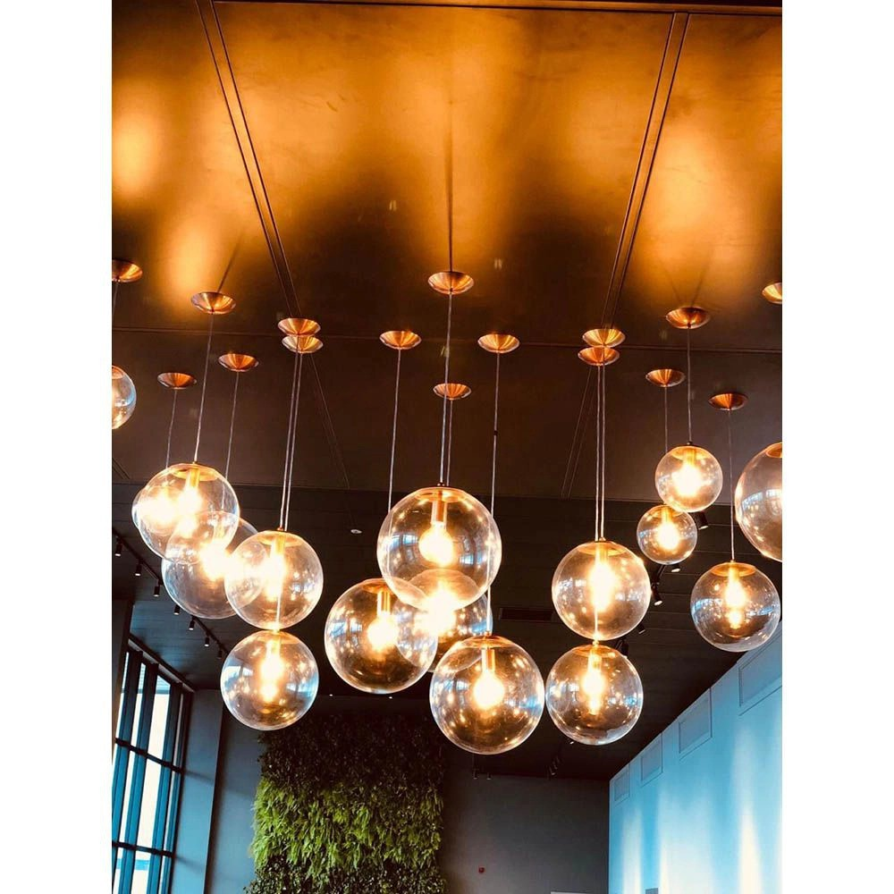Pendente Redondo Esfera 30cm Dourado e Vidro Cristal  Madelustre