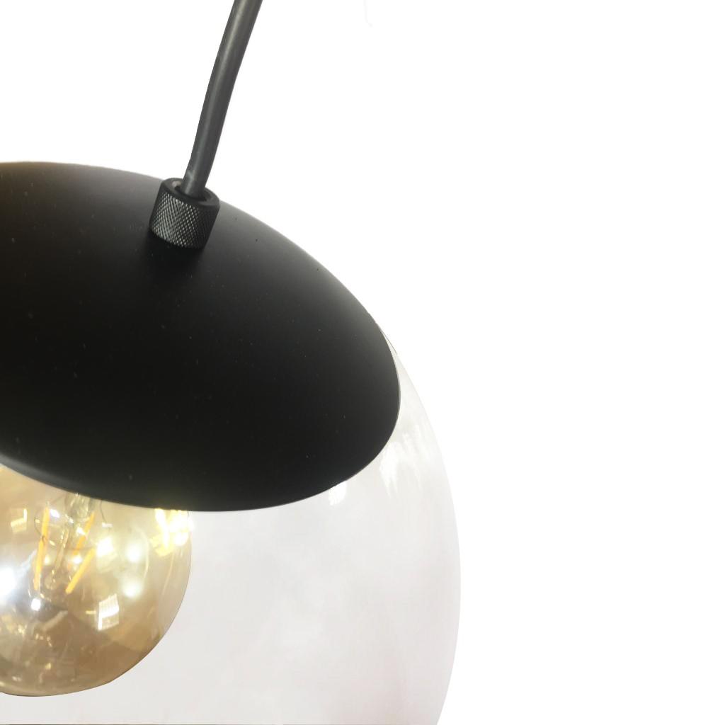 Pendente Redondo Esfera 30cm Preto e Vidro Cristal Madelustre