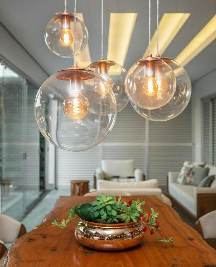 Pendente Redondo Esfera 35cm Cobre Vidro Cristal 1 Lâmpada Madelustre