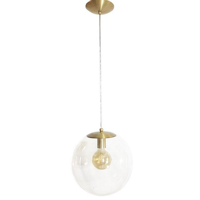 Pendente Redondo Esfera 35cm Dourado Vidro Cristal 1 Lâmpada Madelustre