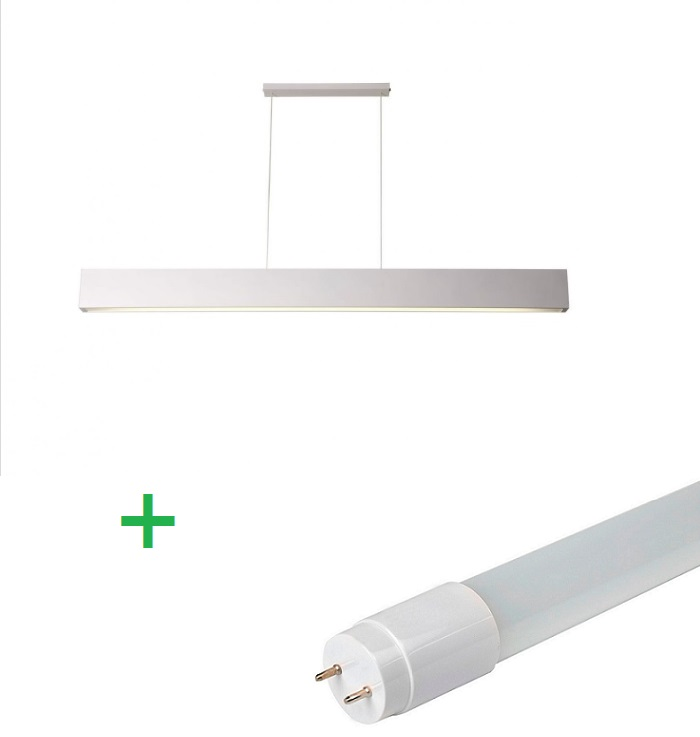 Luminária Pendente Retangular 65cm Branco + 1 Lâmpada TuboLED 9w