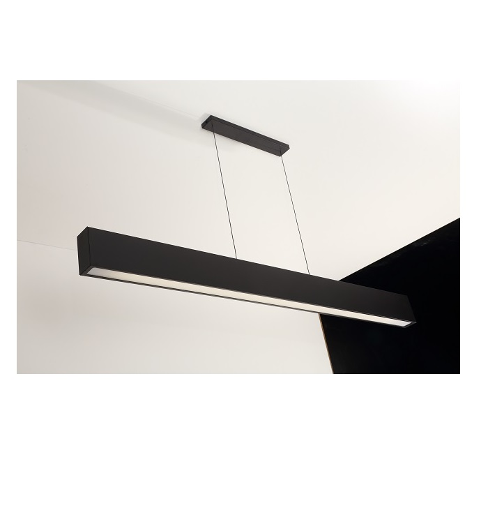 Luminária Pendente Retangular 65cm Preto + 1 Lâmpada TuboLED 9w