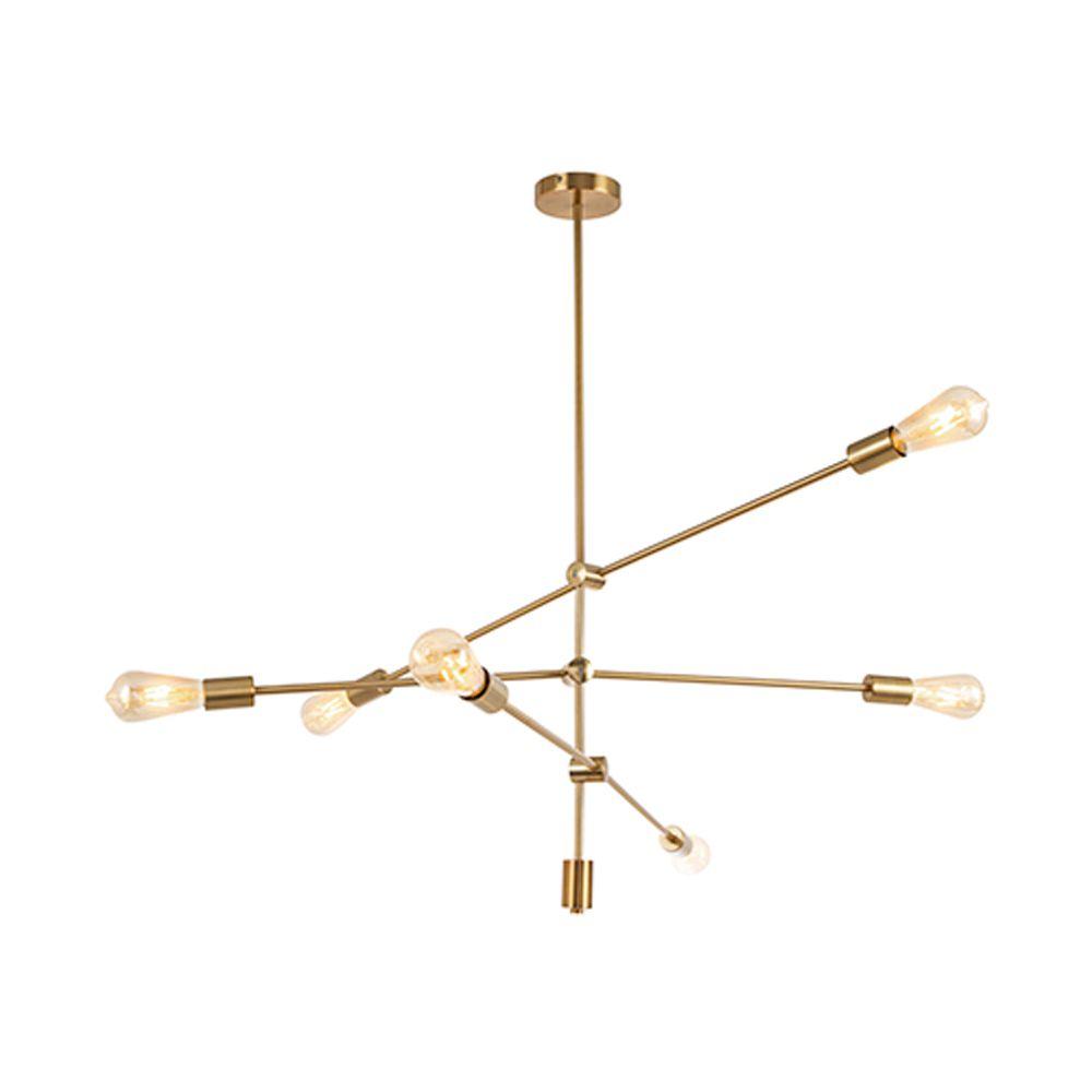 Lustre Pendente Moderno Sputinik 6 Lâmpadas Dourado