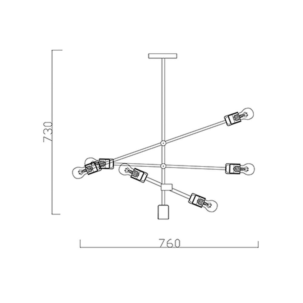 Lustre Pendente Moderno Sputinik 6 Lâmpadas Preto BL
