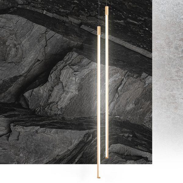 Pendente Led 8w 2700k Tenues Alumínio 80cm Dourado Fosco Mais Luz