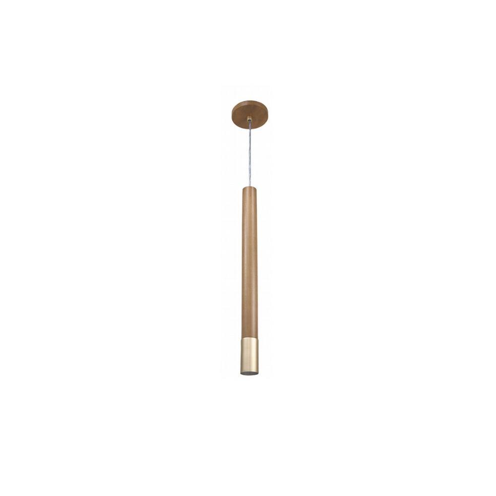 Pendente Tubo Legno 25cm 1 Lamp Castanho e Dourado Madelustre