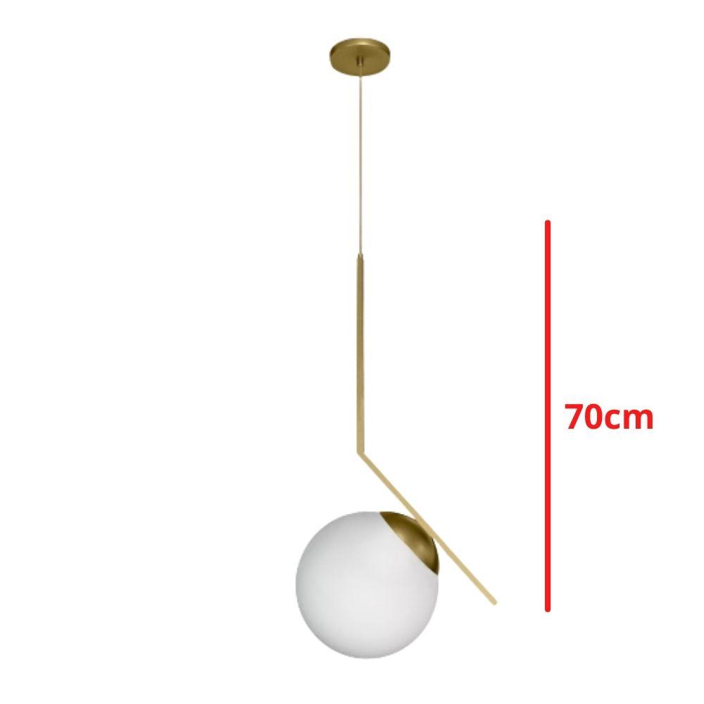 Pendente Vertex Esfera 1xG9 70cm Dourado Champagne
