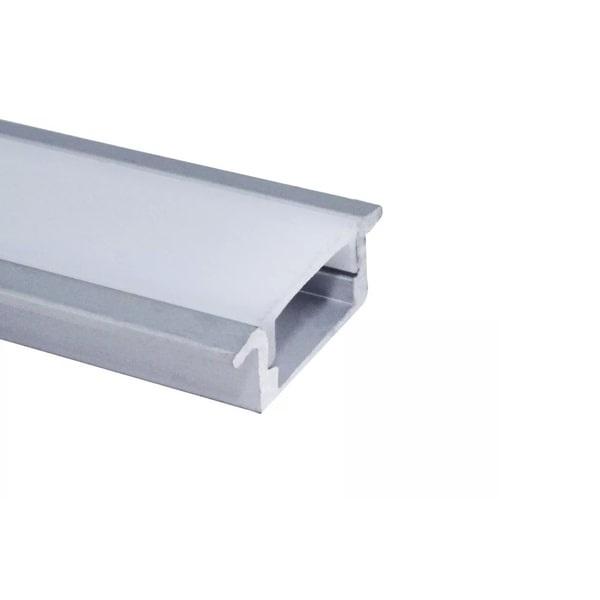 Perfil Embutir Para Fita Led 2 Metros Alumínio Difusor Leitoso