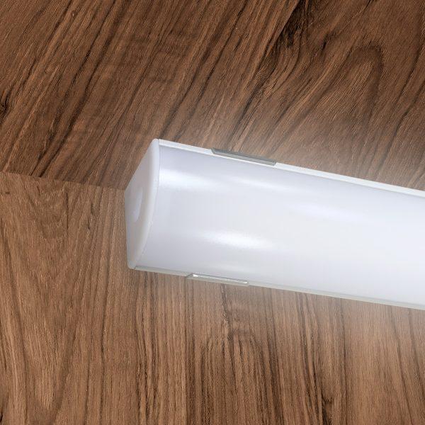 Perfil Sobrepor Canto Para Fita Led 1 Metro Branco Difusor Leitoso