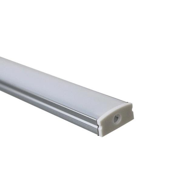 Perfil Sobrepor Para Fita Led 1 Metro Alumínio Difusor Leitoso
