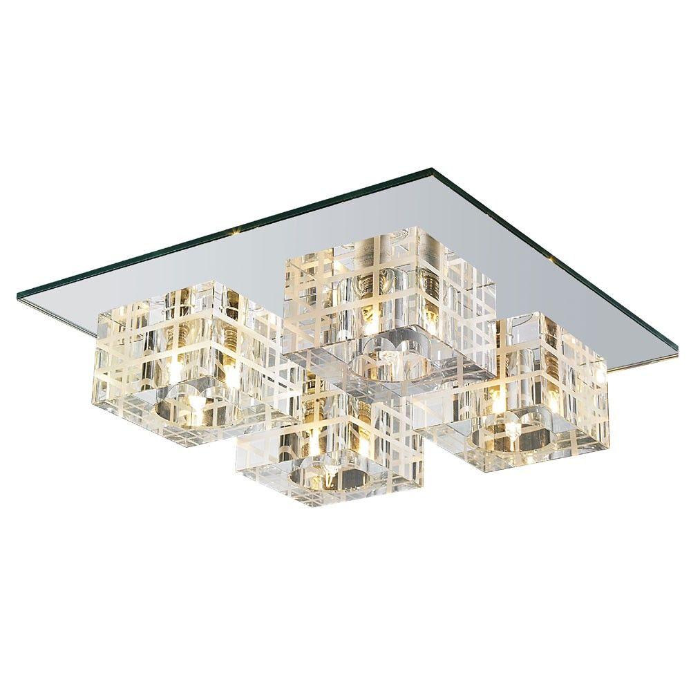 Plafon Sobrepor Quadrado 30cm 4 L Mpadas Cristal E Vidro Espelhado