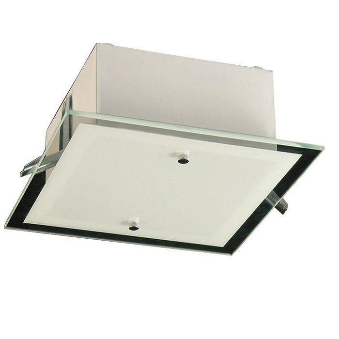 Plafon Embutir e Sobrepor Quadrado 28cm 3 Lâmp Vidro Madelustre
