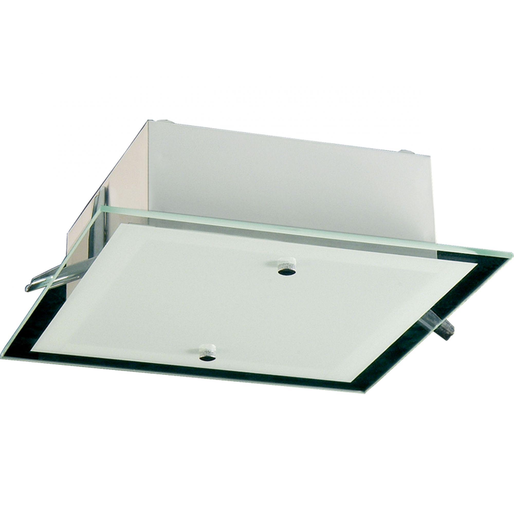 Plafon Embutir e Sobrepor Quadrado 37cm 3 Lâmp Vidro Madelustre