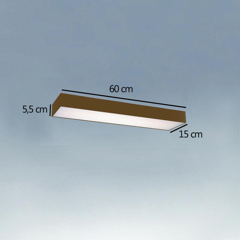 Plafon Luminária Retangular LED 20w 6000k 60cm Alumínio Ouro 220v