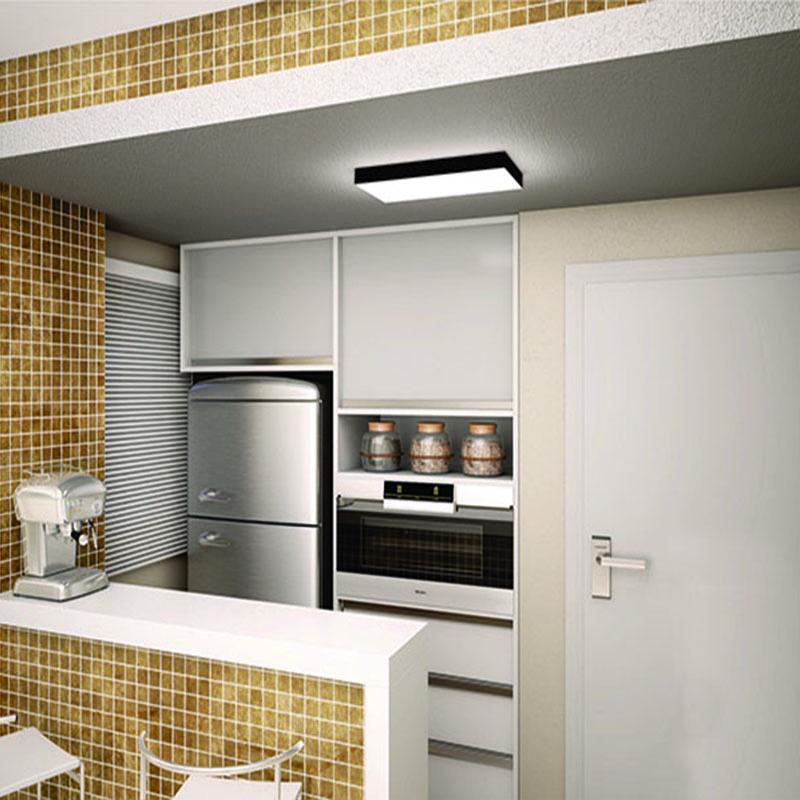 Plafon Luminária Retangular LED 20w 6000k 60cm Alumínio Preto 220v