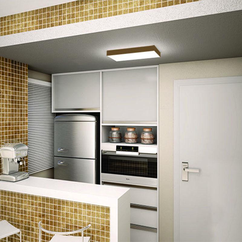 Plafon Luminária Retangular LED 23w 6000k 60cm Alumínio Ouro 127v