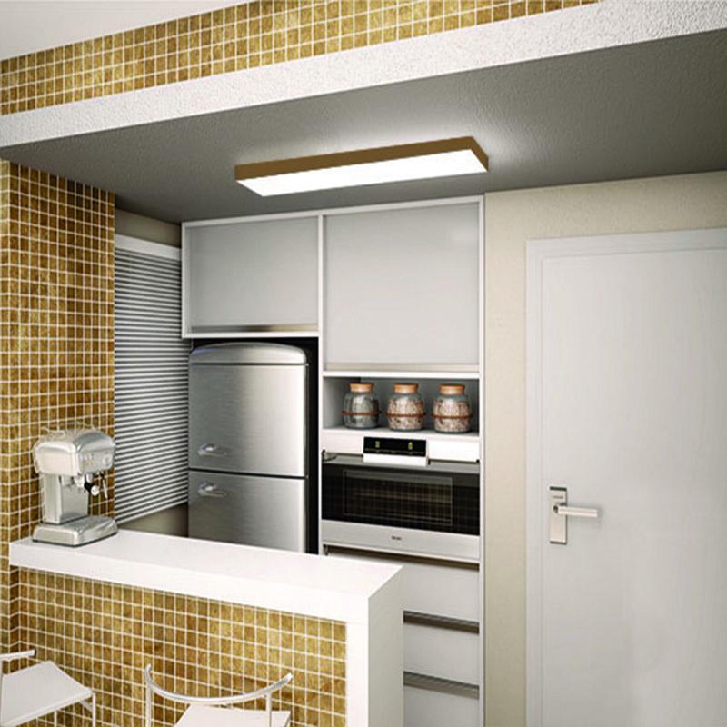 Plafon Luminária Retangular LED 46w 6000k 120cm Alumínio Ouro 127v