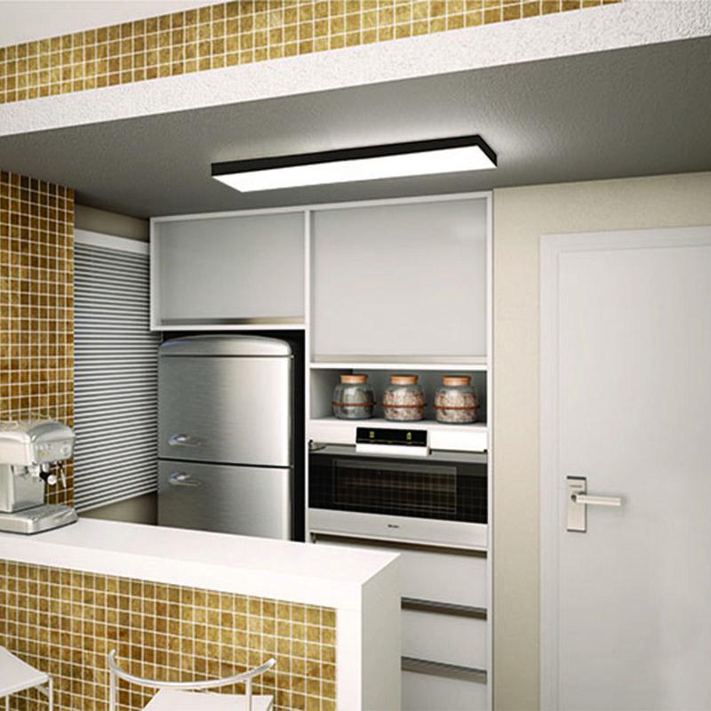 Plafon Luminária Retangular LED 40w 6000k 120cm Alumínio Preto 220v