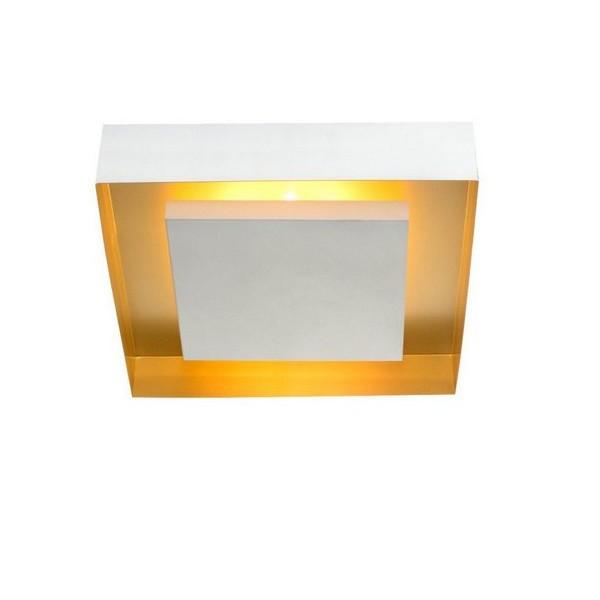 Plafon Luz Indireta Quadrado Eclipse 46cm Branco com Cobre