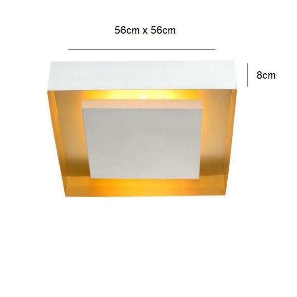 Plafon Luz Indireta Quadrado Eclipse 56cm Branco com Cobre