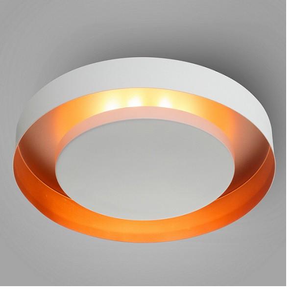 Plafon Luz Indireta Redondo Eclipse 40cm Branco com Cobre