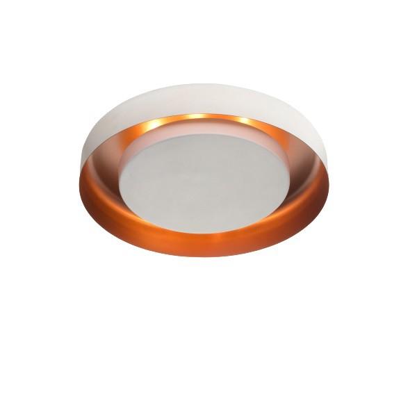 Plafon Luz Indireta Redondo Eclipse 50cm Branco com Cobre