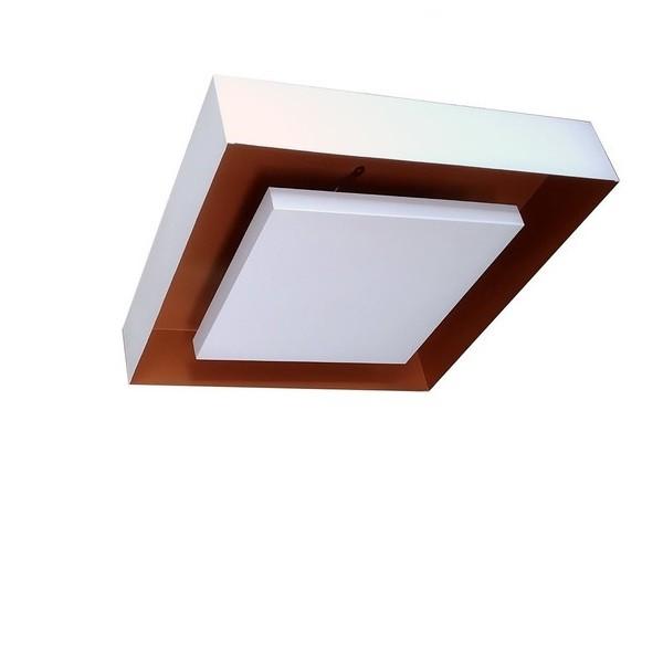 Luminária Plafon Luz Indireta Sobrepor 30cm 4 Lâmp Branco com Cobre RL