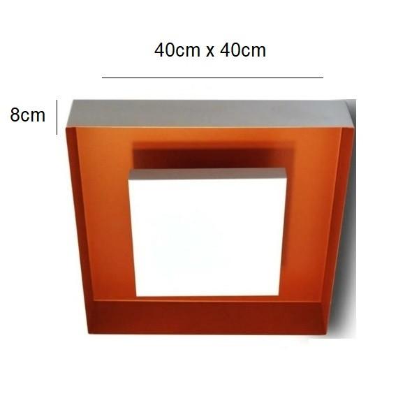 Luminária Plafon Luz Indireta Sobrepor 40cm 4 Lâmp Branco com Cobre RL