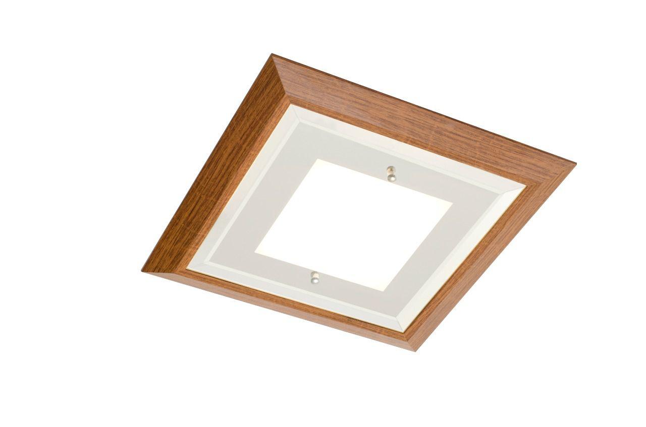 Plafon Quadrado Led 18w Frio 36cm Vidro Espelhado e Madeira Madelustre