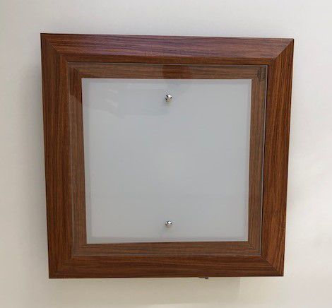 Plafon Quadrado Led 18w Frio 36cm Vidro e Madeira Madelustre