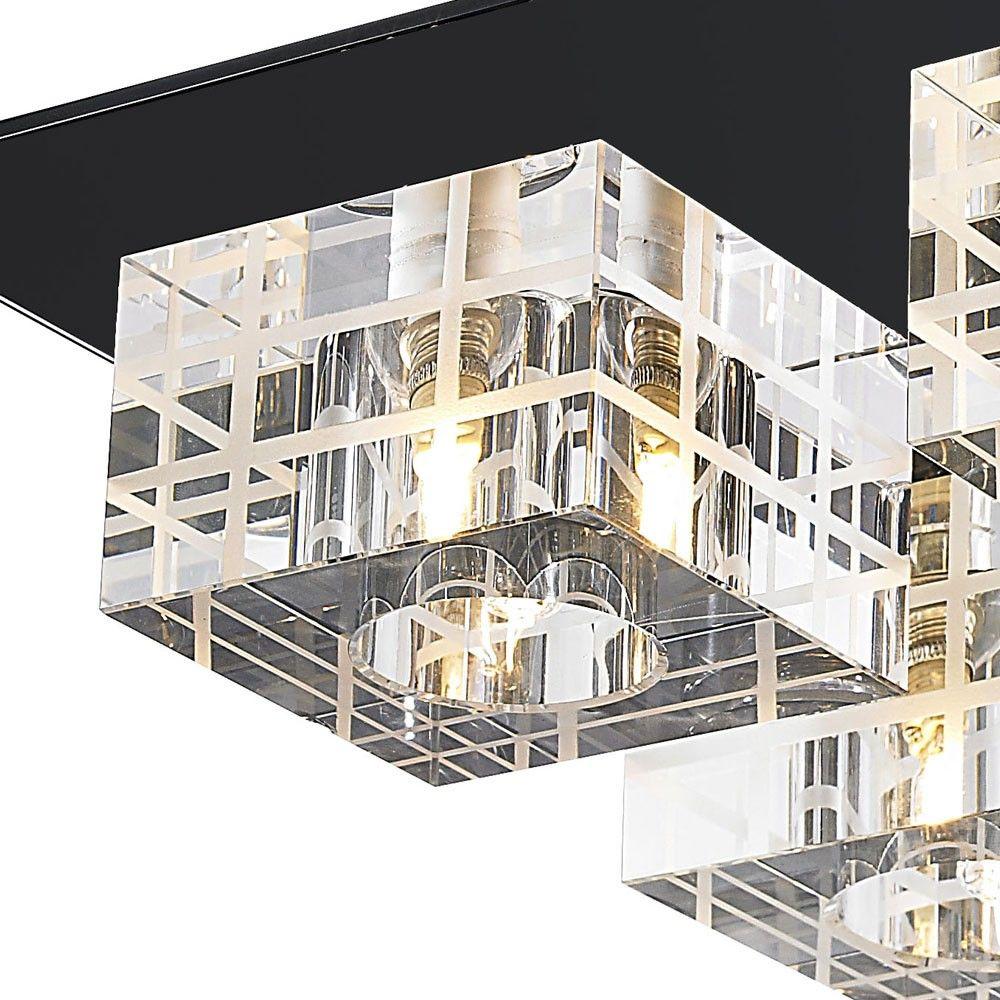 Plafon Sobrepor Quadrado 30cm 4 Lâmpadas Cristal e Vidro Preto Mais Luz