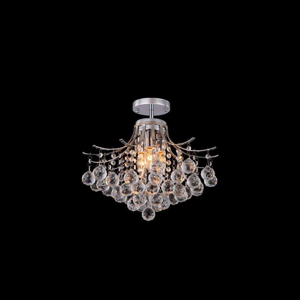 Plafon Sobrepor de Cristal Sienna 3 Lamp e Aço Cromo Ø40 BL