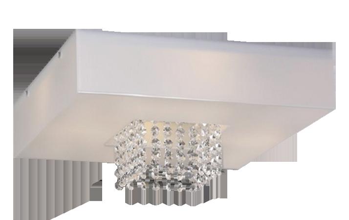 Plafon Sobrepor Quadrado 28x28cm Domenica Cristal e Acrílico Branco