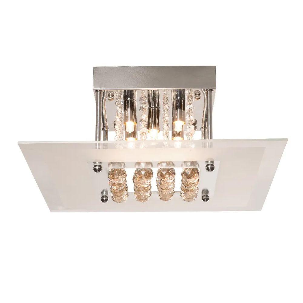Plafon Sobrepor Quadrado 40x40cm Vidro e Cristal Champagne BL
