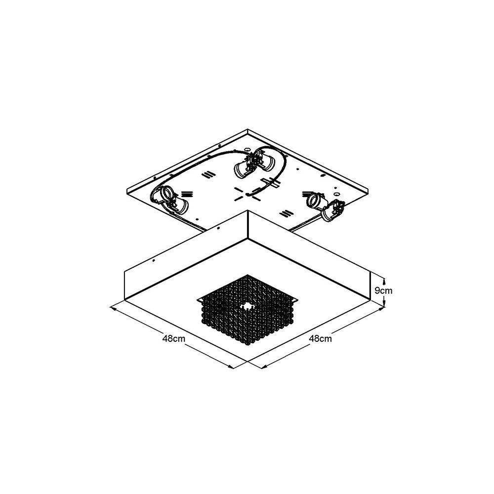 Plafon Sobrepor Quadrado 48x48cm Domenica Cristal e Acrílico Branco
