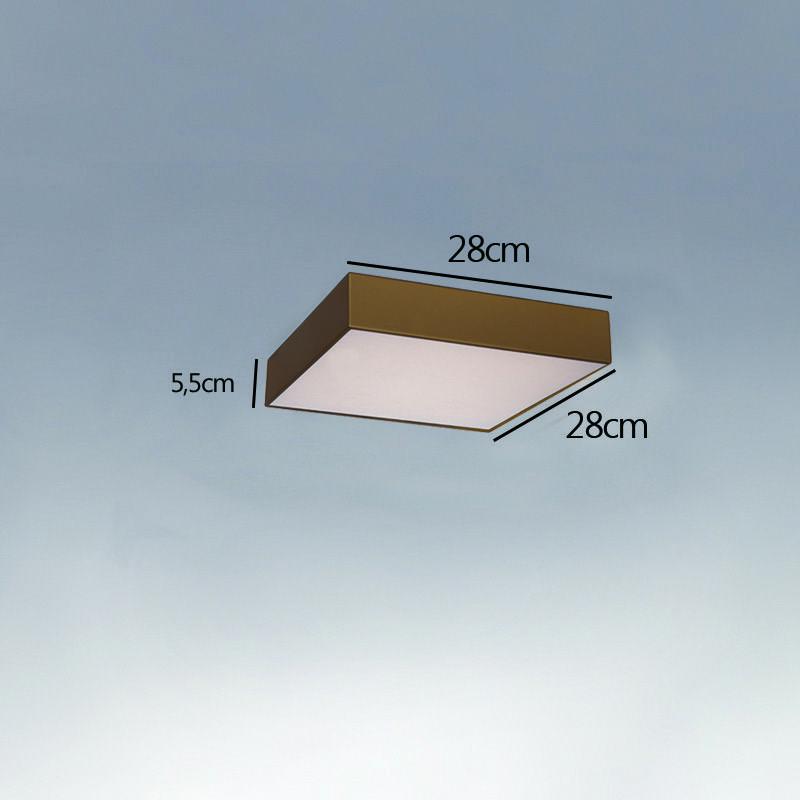 Plafon Sobrepor Quadrado LED 23w 6000k 28x28cm Alumínio Ouro 127v