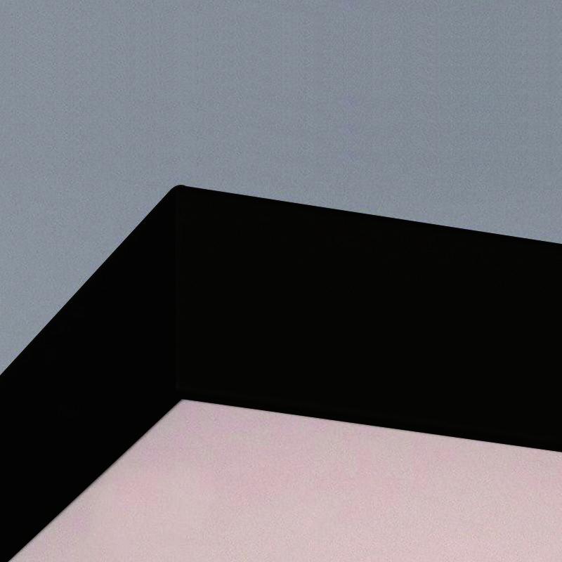 Plafon Sobrepor Quadrado LED 23w 6000k 28x28cm Alumínio Preto 127v