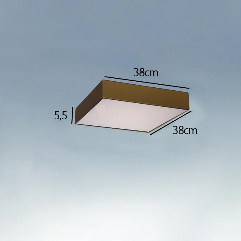 Plafon Sobrepor Quadrado LED 50w 6000k 38x38cm Alumínio Ouro 220v