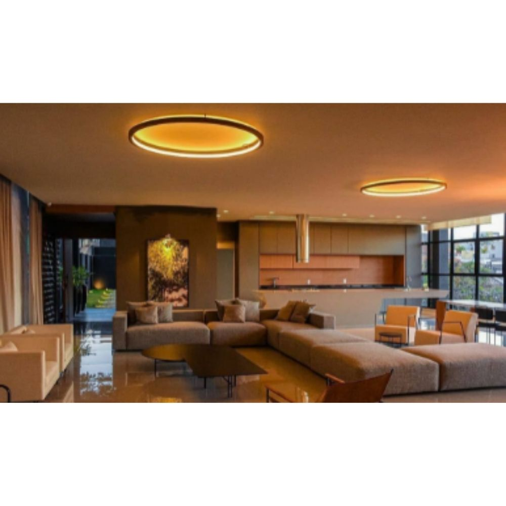 Plafon Sobrepor Redondo Anel LED 28w 2700k 60cm Madeira Imbuia