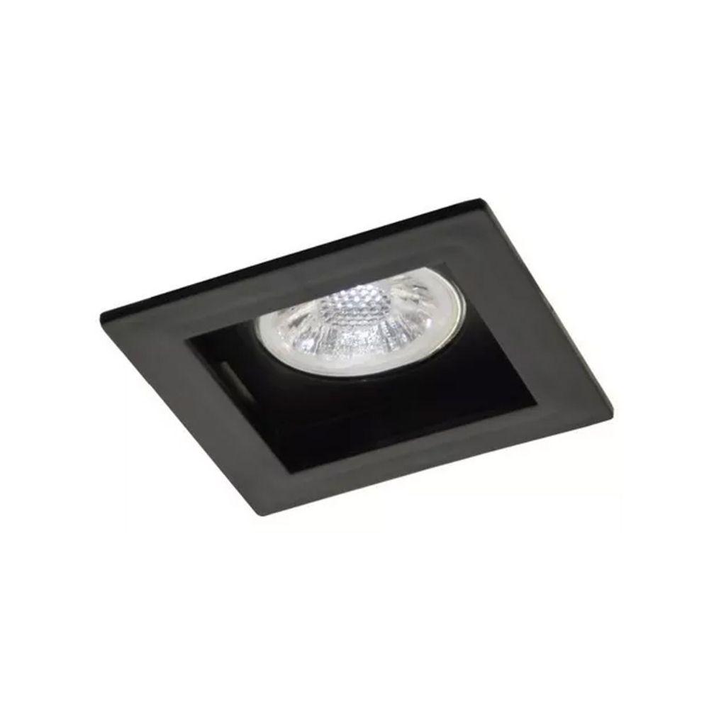 Plafon Spot Embutir Direcionável 1 Lâmpada Dicroica Preto