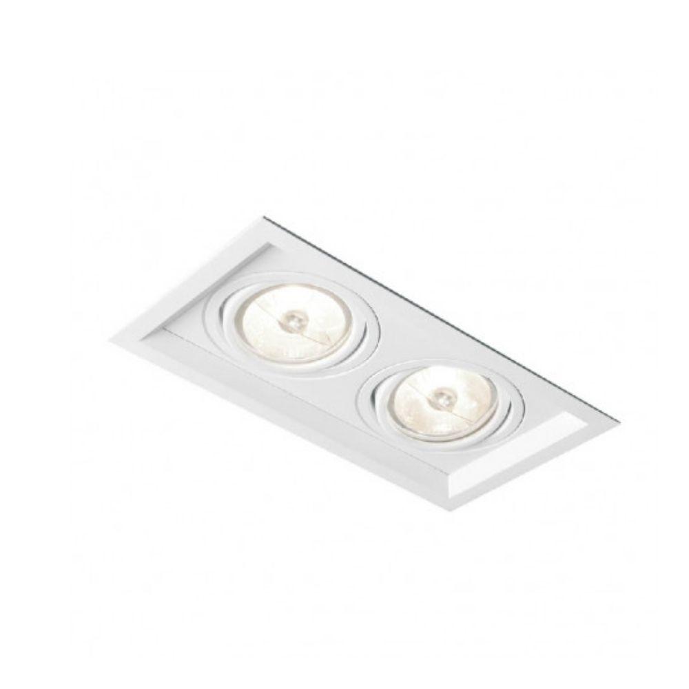 Plafon Spot Embutir Direcionável 2 Lâmpadas Dicroica Branco