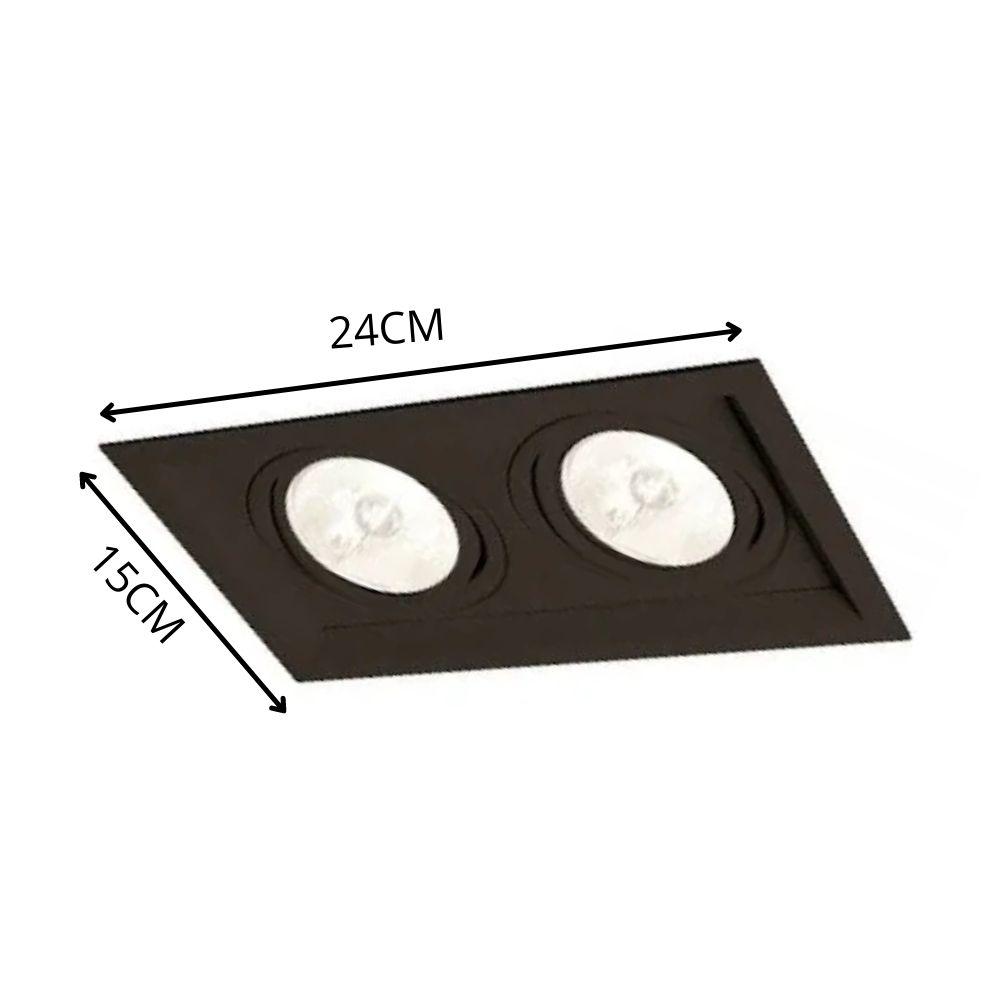 Plafon Spot Embutir Direcionável 2 Lâmpadas Dicroica Preto