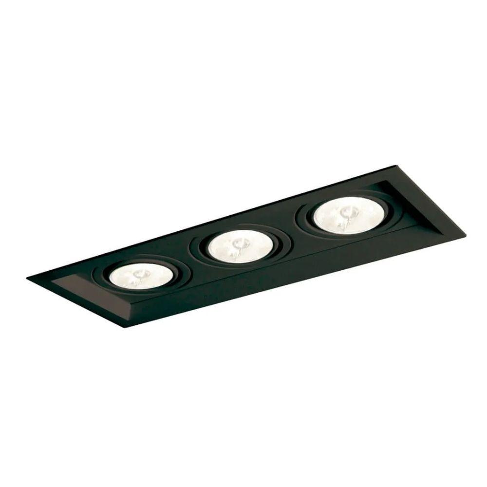Plafon Spot Embutir Direcionável 3 Lâmpadas Dicroica Preto