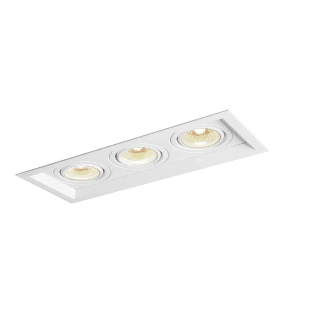 Plafon Spot Embutir Direcionável 3 Lâmpadas Par20 Branco
